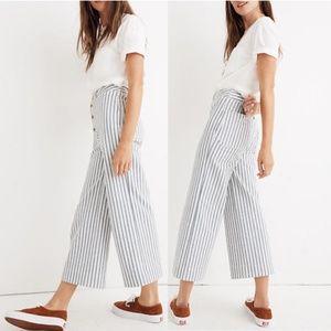 Emmett Wide-Leg Crop Pants in Stripe: Button-Front